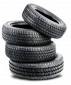 tires on the white background - isolated