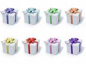 Four Present Boxes On White Background