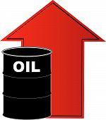 Barrel Oil W Rising Arrow Behind.