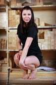 Young Sexy Girl In Workshop Of The Joiner