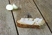 Bitten Piece Of Bread With White Lard
