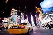 New York City - Sept 26: Times Square, Featured With Broadway Theaters and Taxi Cabs