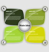 stock photo of main idea  - Presentation template with four text boxex and main idea box - JPG