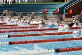 Children Starting Swim Race