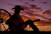Silhouette Cowgirl Guitar Wagon