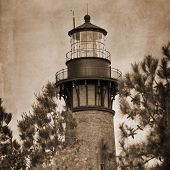 Artistic shot of the Currituck Beach Lighthouse in Corolla, North Carolina.