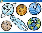 Planetas e Orbs conjunto de personagens de desenhos animados