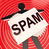 stock photo of maliciousness  - Spam Target Shows Unwanted And Malicious Spamming - JPG