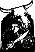 stock photo of minotaur  - Woodcut style expressionist image of the Greek myth of Theseus and the Minotaur - JPG
