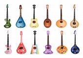 A Set Of Beautiful Ukulele Guitars On White Background