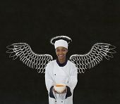 Woman African Chef Anges Wings Chalk Blackboard Background