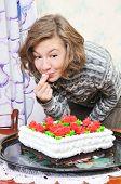 Girl With Big Cake