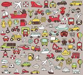 stock photo of motor-bus  - Big doodled transportation icons collection in colors - JPG