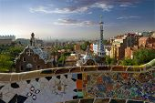 picture of gaudi barcelona  - Architecture designed by Antonio Gaudi in Park Guell Barcelona Spain - JPG