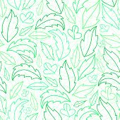 Leaves lineart seamless pattern background