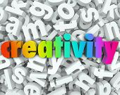 The word Creativity in colorful 3d letters on a background of white letters to illustrate creative t