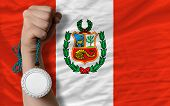 Silver Medal For Sport And  National Flag Of Peru