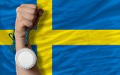 Silver Medal For Sport And  National Flag Of Sweden
