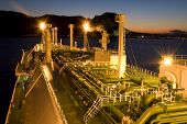 stock photo of lng  - LNG carrier ship designed for transporting natural gas anchored - JPG