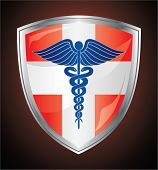 Caduceus Medical Symbol Shield