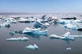 Постер, плакат: Синий айсбергов плавающие в Ёкюльсаурлоун Ледниковый Lagook Исландия