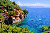 stock photo of mansion  - Luxury homes along the Italian coast at Portofino - JPG