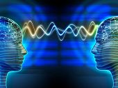 picture of transmission lines  - Two people communicating by telepathy - JPG