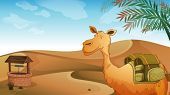 Illustration of a camel with a well at the desert