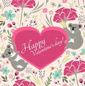 Floral Valentines Day Card With Cute Koala Bears