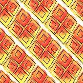 Watercolor rhombus seamless pattern
