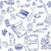 Back To School Doodles Seamless Background