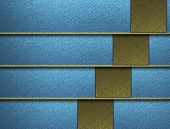 Blue background with gold horizontal stripes and gold accents