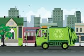 stock photo of dustbin  - green truck recycling collection in the city - JPG
