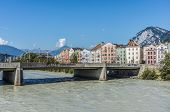 Bridge Across The Inn In Innsbruck, Upper Austria.