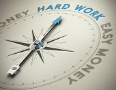 pic of moral  - Compass needle pointing the text hard work - JPG
