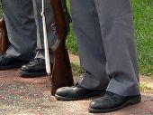 Elderly Veterans Standing At Attention