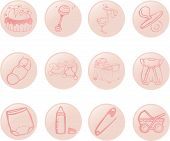 stock photo of babygro  - A set of icons with the babies theme - JPG