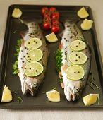 Raw fish. Healthy dinner preparation