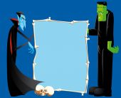 Dracula And Frankenstein With Bones Frame