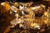 Cave view of stalactites / stalagmites inside the famous Cheddar Gorge, Mendip Hills in Somerset