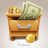Wooden drawer illustration for finance icon