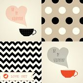 Valentine's day card set with a cup of coffee or tea.