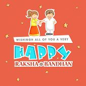 Beautiful greeting card design with stylish text Happy Raksha Bandhan with illustration of cute little girl tying rakhi on her brother hand on stars decorated orange background.
