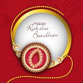 stock photo of rakhi  - Beautiful rakhi in golden frame on floral decorated maroon background for Happy Raksha Bandhan celebrations - JPG