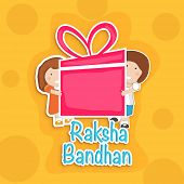 Happy Raksha Bandhan celebration background with cute little brother and sister holding a huge pink gift box on bright yellow background.