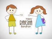 Cute little boy and girl on grey background for the festival of Raksha Bandhan celebrations.