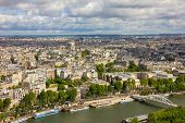 foto of charles de gaulle  - View of Paris the Seine river Alma Bridge and Arc de Triomphe from the Eiffel tower - JPG