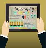 Infographics on the Tablet PC & Hands. Vector