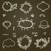 Hand-drawn  Frames Set And Design Element