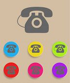 vector old phone icons with color variations